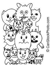 set of cute cat cartoon
