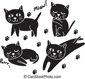 set of cute cat