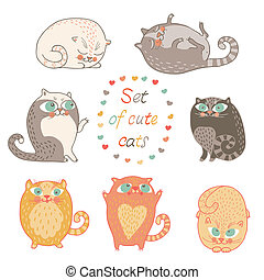 Set of cute cats.