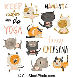 Set of cute cats in yoga asana postures