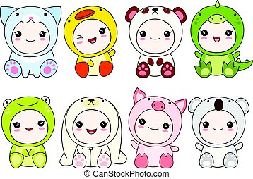 Set of cute children in different costumes of animal -...