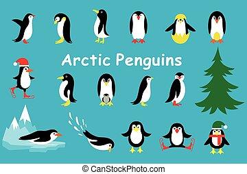 Set of cute Christmas character - penguin. Vector...