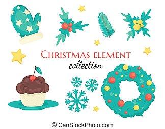 Set of cute Christmas decorations, Christmas 2021