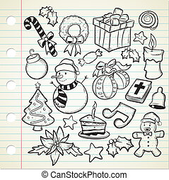 set of cute christmas doodles