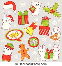 Set of cute Christmas party icons in kawaii style