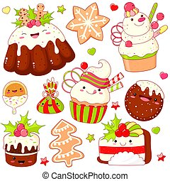 Set of cute Christmas sweet icons in kawaii style