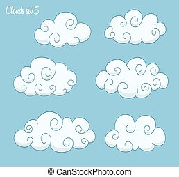set of cute clouds with swirls. vector