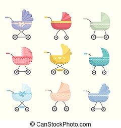Set of cute colorful baby stroller, modern design and basket