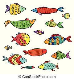 Set of cute colorful cartoon aquarium fishes