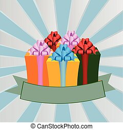 Set of cute colorful gift boxes in vector