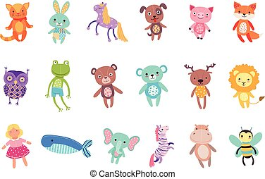 Set of cute colorful soft plush animal toys vector...