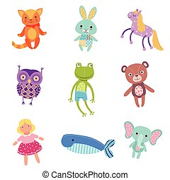 Set of cute colorful soft plush animal toys vector Illustrations