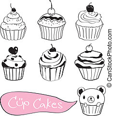 Set of cute cup cake