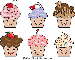 cute cupcake faces, vector - set of cute cupcake faces, ...