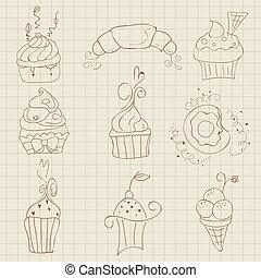 Set of Cute Cupcakes and Desserts - for design, scrapbook, invitaion