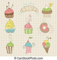 Set of Cute Cupcakes and Desserts - for design, scrapbook, invitation