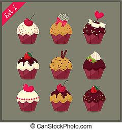 Set of  cute cupcakes.