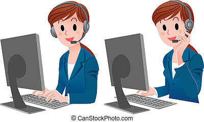 Set of Cute Customer service - Set of Customer service woman...
