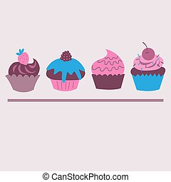 Set of cute decorative cupcakes with berries
