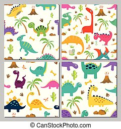 Set of cute dinosaur seamless patterns