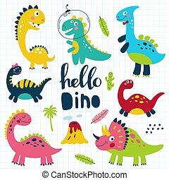 Set of cute dinosaurs for children print. Vector