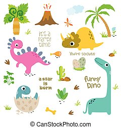 Set of Cute Dinosaurs