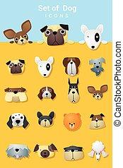 Set of cute dog icons