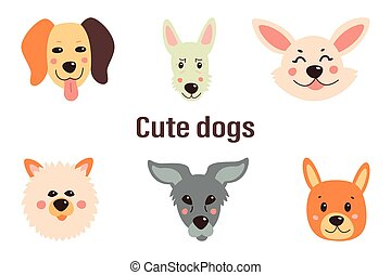 Set of cute dogs. Vector illustration on a white isolated background