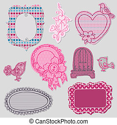 Set of Cute Doodle Frames - with Flower Elements and Birds in vector
