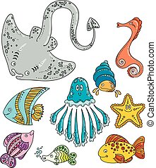 Set of cute doodle sea creatures.