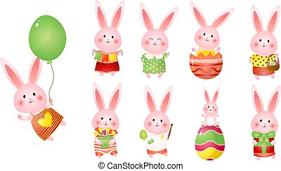 Set of cute easter bunnies with balloon, gift, flags, flowers and eggs as readiness holiday