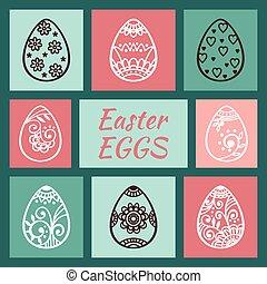 Set of cute Easter eggs