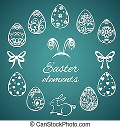 Set of cute Easter elements
