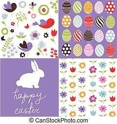 Set of cute easter patterns