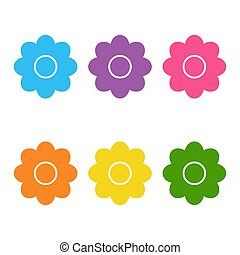 Set of cute flat icon flower icons in silhouette isolated on white. cartoon style