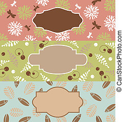 set of cute floral banners
