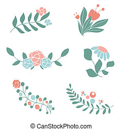 Set of cute floral bouquets and wreaths.