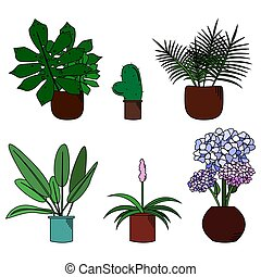 Set of cute flowers in pot cartoon style vector illustration
