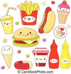 Set of cute food icons in kawaii style