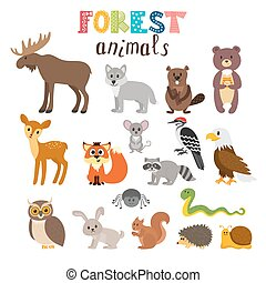 Set of cute forest animals in vector. Woodland. Cartoon...