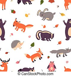 Set of cute forest animals on a white isolated background. Pattern.