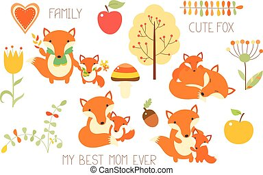 Set of cute fox with baby