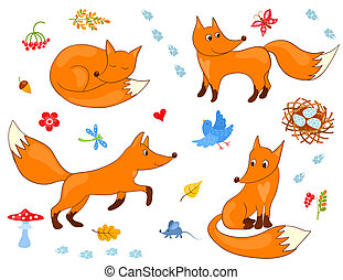 Set of cute foxes