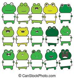 Set of cute frog holding a billboard design. Vector illustration.