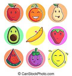 Set Of Cute Fruit Emoji Vector Illustration