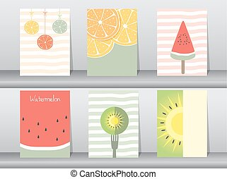 Set of cute fruit poster,template