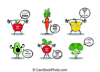 Set of cute fruits and vegetables doing sport with...
