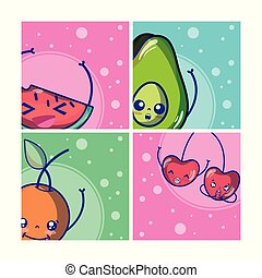 Set of cute fruits