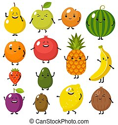 Set of cute fruits characters