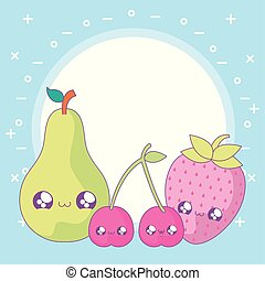 set of cute fruits style kawaii